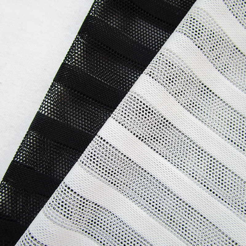 New Fashion Classic White Stretch Striped Net Fabric High Quality ...