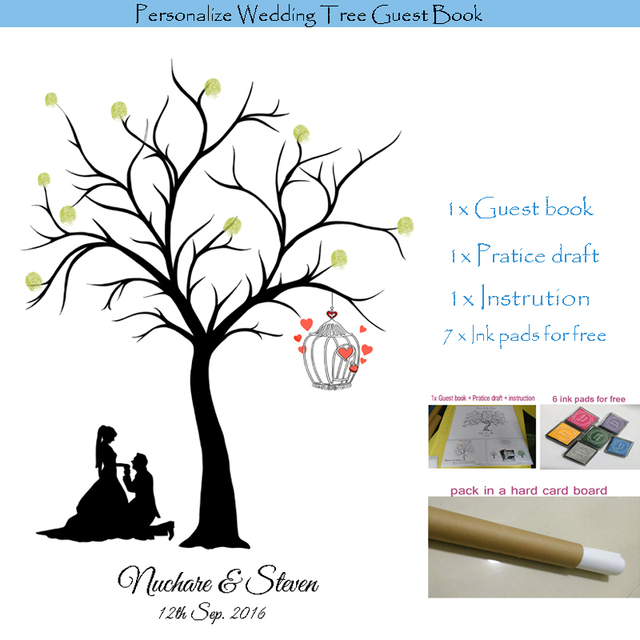 Personalized Wedding Tree Guest Book Alternative Fingerprint Love Birds Canvas