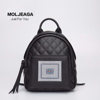 MOLJEAGA national style bags Small incense square backpack shoulder genuine leather hand embroidery batik