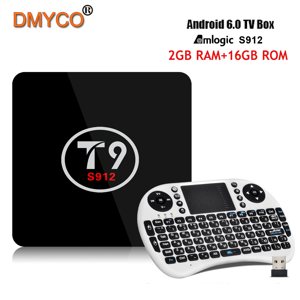 T9 TV Box Amlogic S912 Octa Core Android 6.0 Smart tv 2G/16G 2.4G/5G Dual WiFi Bluetooth4.0 1000M LAN HDMI H.265 4K Media Player 10pcs lot new csa90 andriod 5 1 smart tv box octa core rk3368 2g 16g 4k hdmi 2 0 with remotecontrol