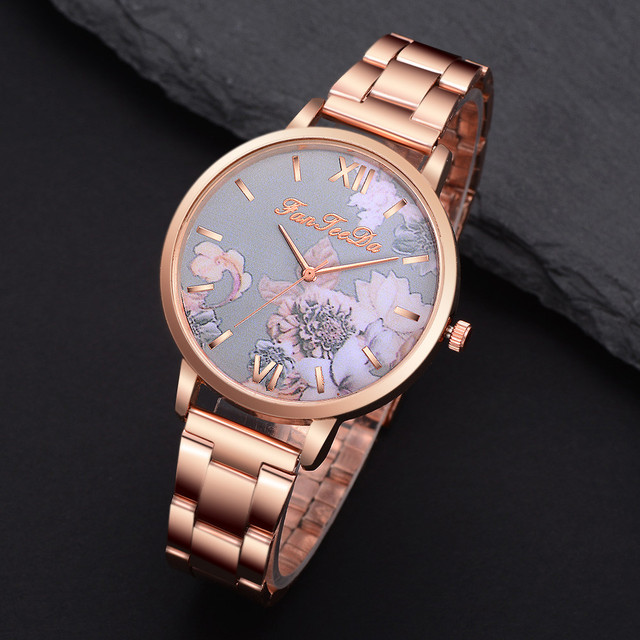 FanTeeDa Relogio Feminino Luxury Watch Women Fashion Casual Watch Full Stainless Steel Strap Wrist Watch Rose Gold  /PY