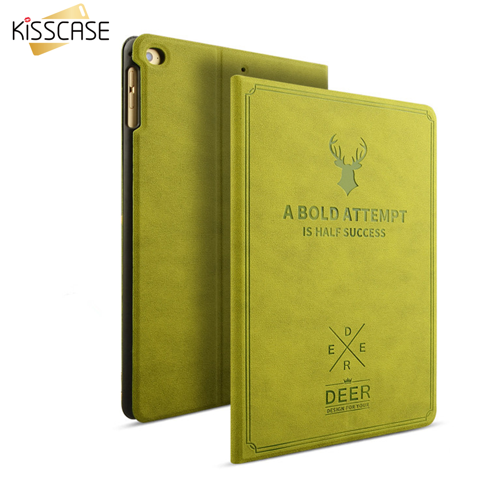 KISSCASE Retro Flip Leather Cases For iPad Pro 9.7 For Ipad Air 1 2 Smart Awake Sleep Stand Cover Deer Full Couque For ipad 5 6 for ipad pro 9 7 retro crocodile stand wallet smart leather cover dark blue