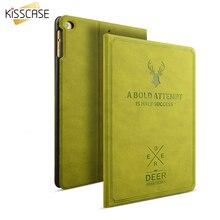 Kisscase Ретро Флип Кожаные чехлы для iPad Pro 9.7 для Ipad Air 1 2 Smart проснулся сна Стенд Обложка олень Полный couque для Ipad 5 6