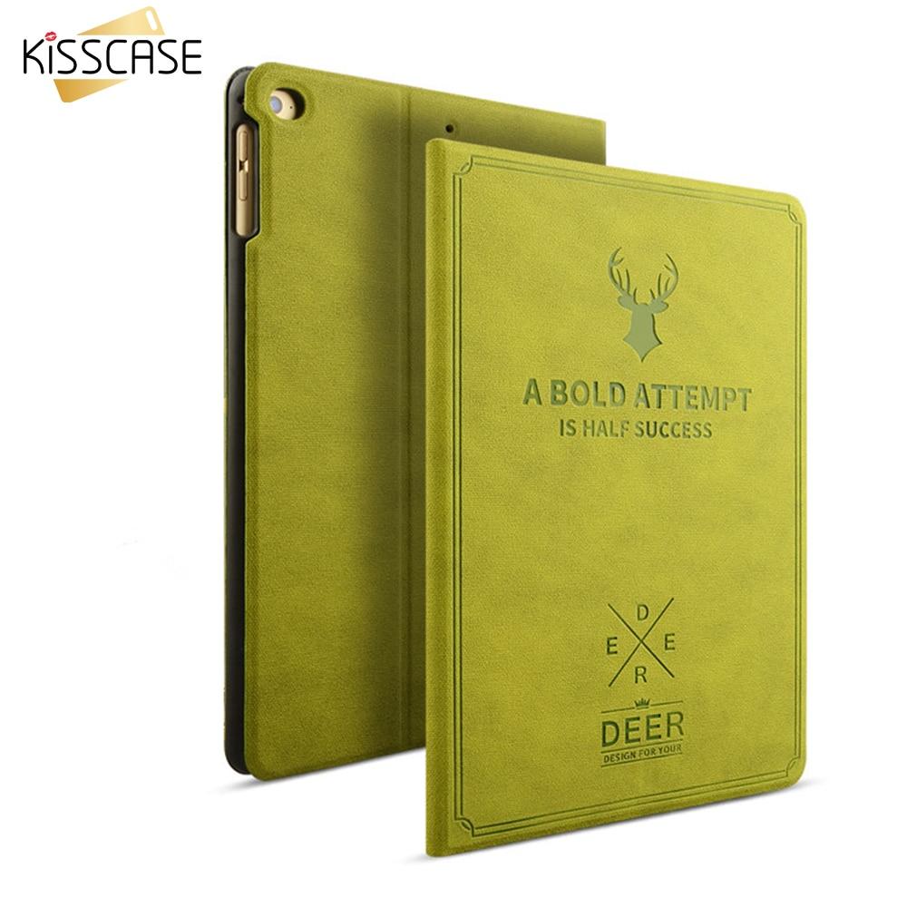 KISSCASE Retro Leather Case For iPad Pro 9.7 iPad Air 2 1 Elegant Deer Smart Awake Sleep Stand Flip Full Cover For iPad Air 2 1 leather case flip cover for letv leeco le 2 le 2 pro black