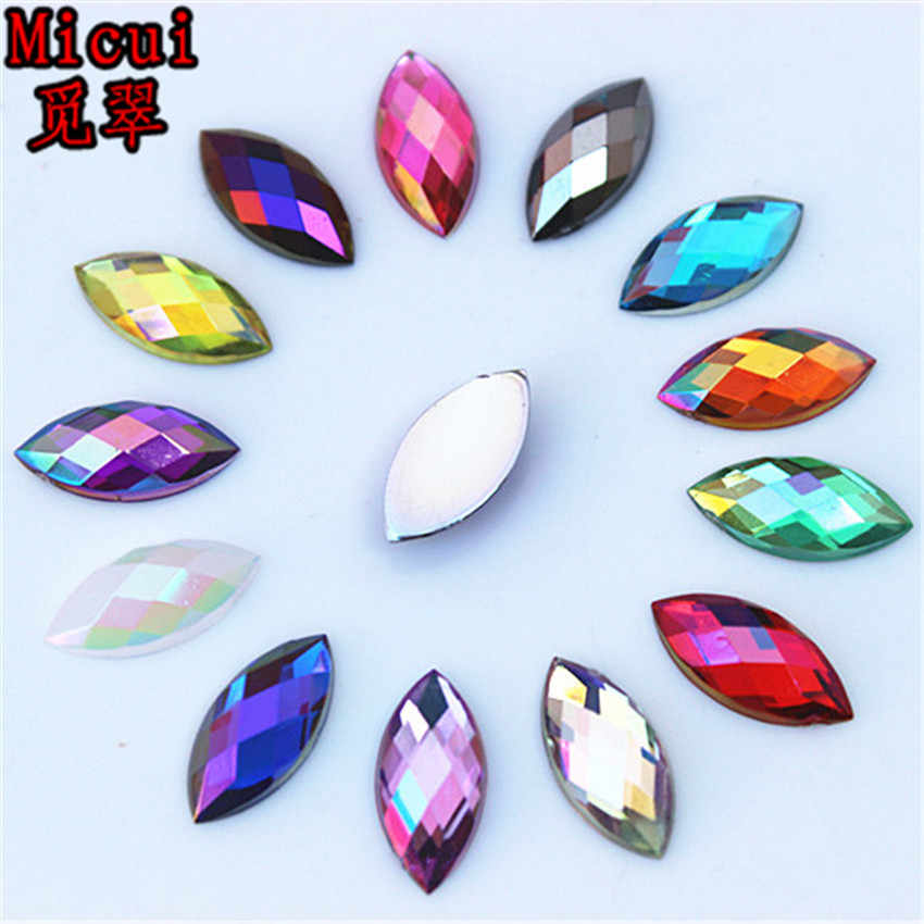 Micui 100pcs 7 15mm Horse Eye AB color Acrylic Rhinestones Crystal Flatback  Strass Stone For 395372585a15