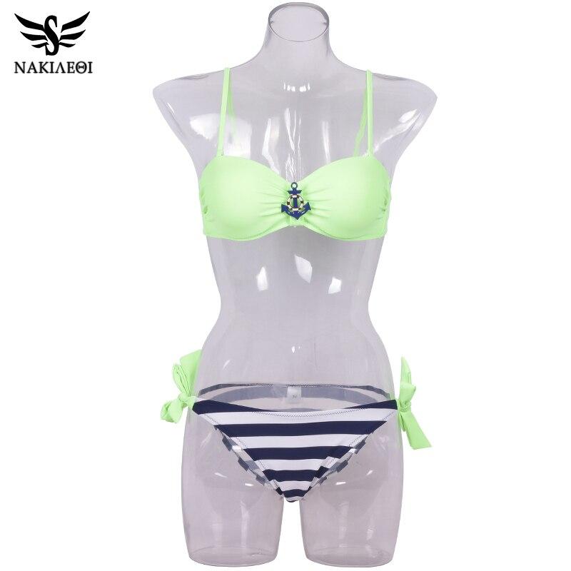 NAKIAEOI 2018 New Sexy Bandeau Brazilian Bikini Women Swimsuit Push Up Swimwear female Bikini Set Plaid Bathing Suit Biquini 4