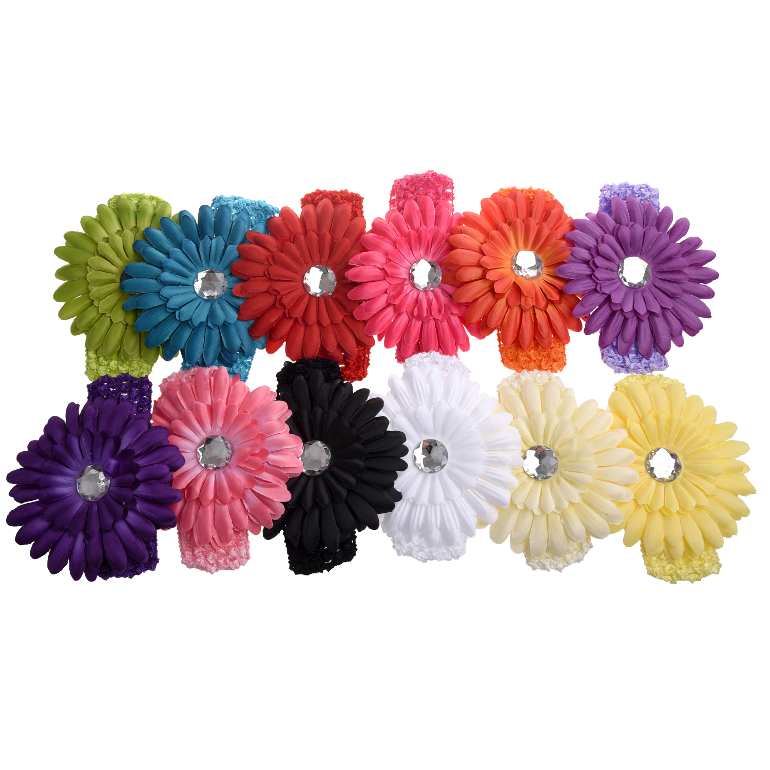 Color Daisies: A Dozen Of Assorted Colors Daisy Flower Clip Crocheted
