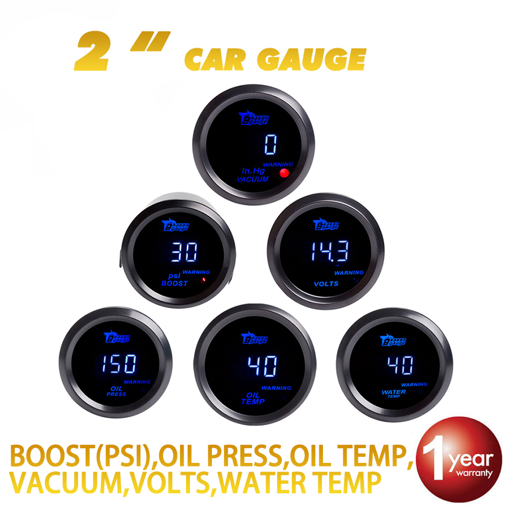 """Dragon Gauge 2"""" 52mm Boost Vacuum Water Oil Temperature Oil Press Volts Gauge Blue Led Black Shell Digital Display 12v Invigorating Blood Circulation And Stopping Pains"""