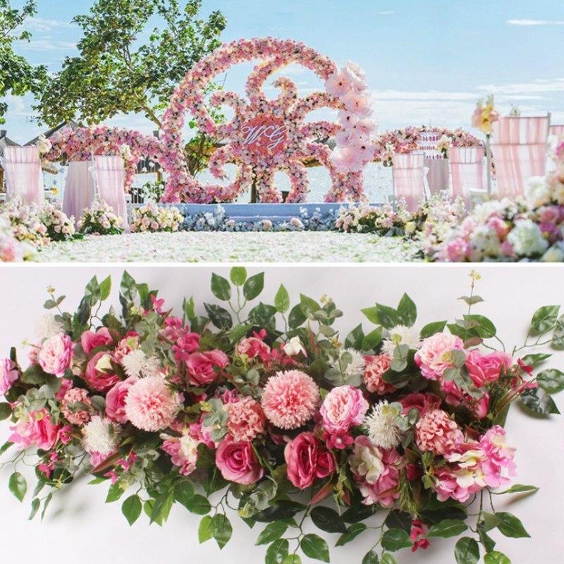 50/100 см DIY свадебный цветок стены расположение поставки шелк пионы украшения в виде искусственных роз ряд цветов Декор Свадебные железная Ар...