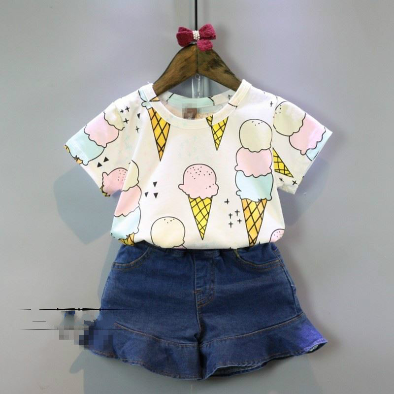 The new summer Kids Girls sweet ice cream all-match fashion T-shirt bottoming shirt бутылка 0 4 л asobu ice t 2 go фиолетовая it2go violet