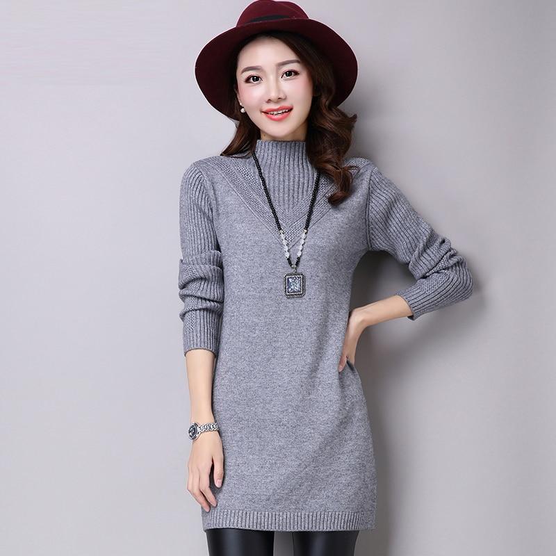 Women Sweaters Dress Pullovers 2018 New Winter Warm Long Knitted Sweater Knitwear Poncho Tunics Gray Black Plus Size Vestidos