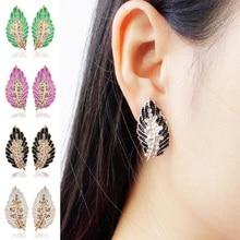 1 Pair Ear Nail Clip Stud Dangle Women Leaves Earrings Eardrop for Cute Girl 4 Color Simple Personality Sweet Plant Earrings pair of elegant faux gem clip earrings for women