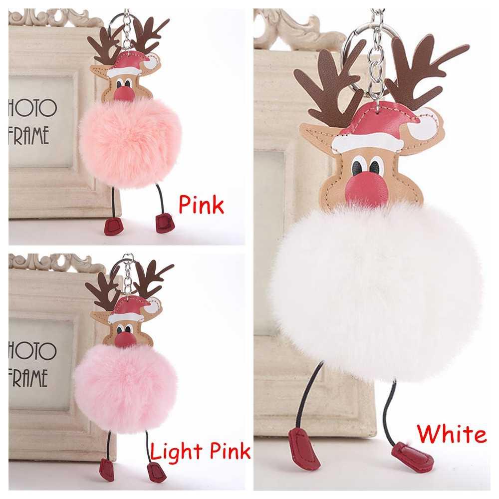 Chegada nova Natal Dos Cervos Pingente Chaveiro Pompom Fofo Pele De Pelúcia Boneca Chaveiro Bolsa Chaveiro Moda Bonito Jóias Presente Do Xmas