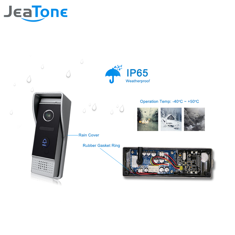 JeaTone 4-Wired Video Door Phone 1200TVL Door Bell Waterproof Pinhole Lens