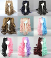 2016 New Arrial 70cm Long Curly Wave Ponytail Cosplay Wigs Ombre Color Two Tone Lolita Anime Harajuku Curly Hair Peruca Cosplay