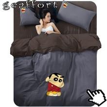 2016 #0037 home decoration textile cotton 3-4pcs Crayon Shin Chan cartoon printed bedding set bed sheet duvet cover