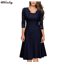 Oxiuly Elegant Navy Blue Dresses Bridesmaid Mother of Bride See Through Lace Sleeve Work Office A-Line Dress Vestidos