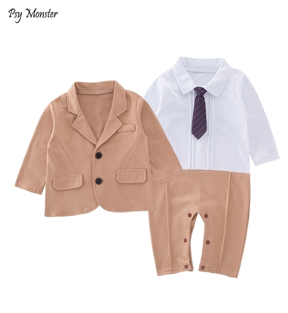 3c8ebb5e7f71 2018 Baby Boys Clothes Baby Gentleman Jumpsuit Rompers + Tie Newborn  Toddler Boys Clothing Kids Infant Body Suit Roupa A18