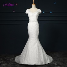 fsuzwel Melice V-neck Short Sleeves Mermaid Wedding Dress