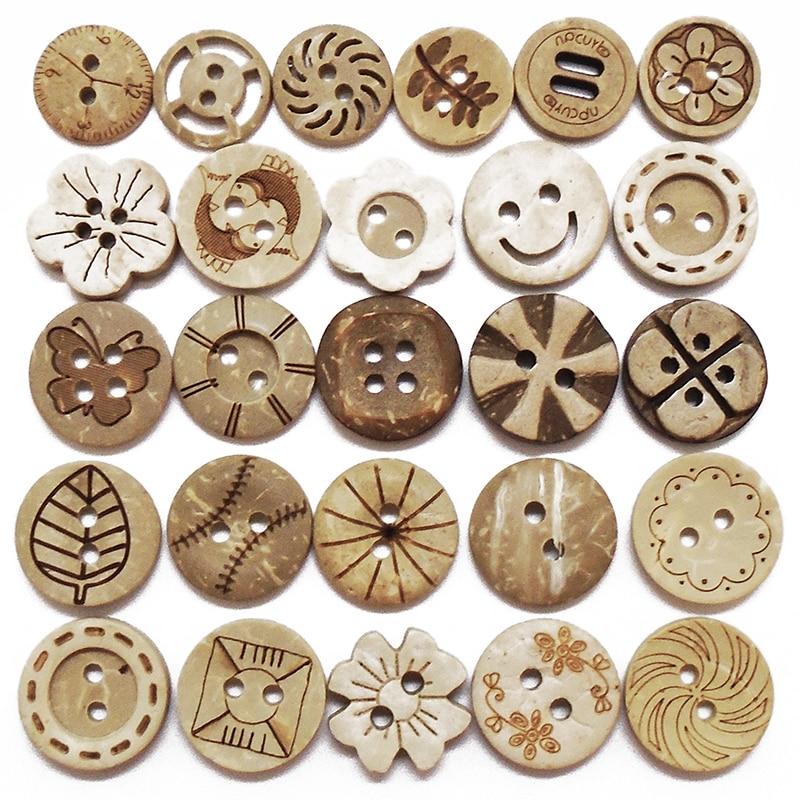 Zieene 10 pces 30 pces 50 pces 100 pces cor natural redondo laser coco botões 13mm 15mm artesanato costura scrapbooking artesanal