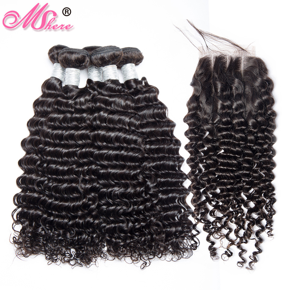 Human Hair Bundles With Closure Deep WaveHair Lace Closure With Bundles Indian Remy Hair Mshere Hair