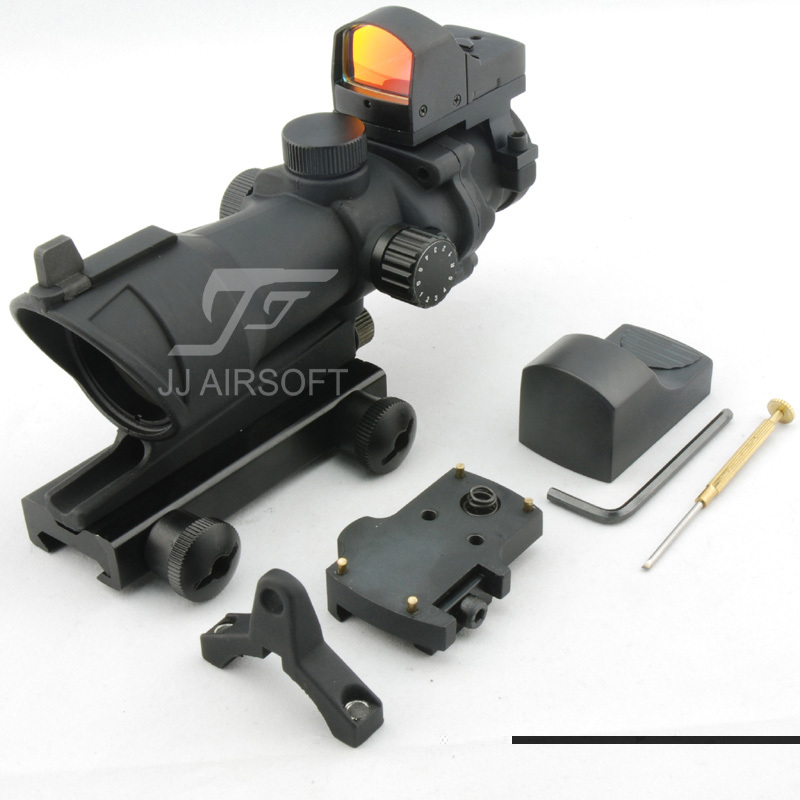 JJ Airsoft ACOG Style 4x32 Scope Illumination with Docter Mini Red Dot Black FREE SHIPPING