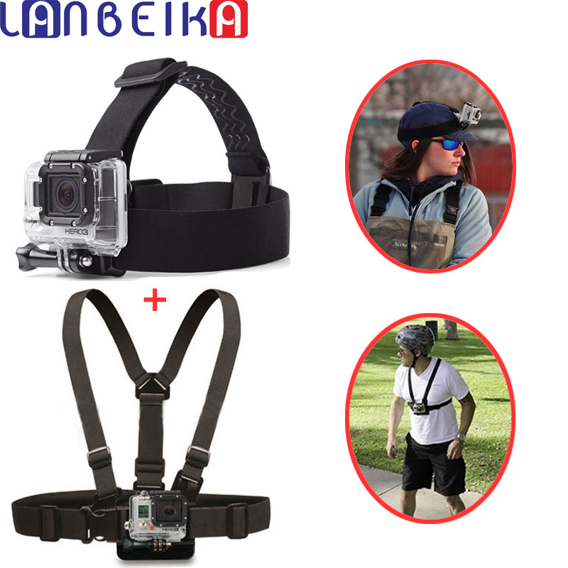 LANBEIKA For Gopro Elastic Adjustable Wrist Strap Head Strap Chest Belt For SJCAM M20 SJ5000 SJ6 SJ7 GoPro Hero 6 5 4 3+ Eken YI elastic wrist belt silicone protective case for gopro hero3 3 wi fi remote control blue