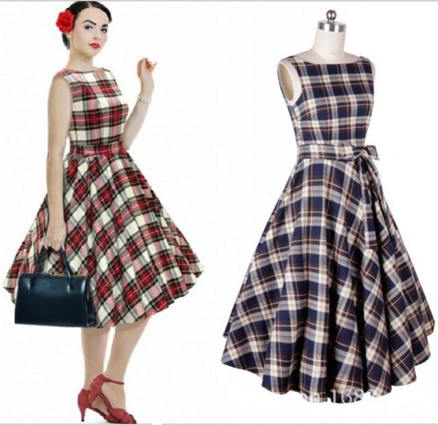 Frauen 50 S Vintage Hochzeit Figurbetontes Kleid Damen Print Plaid