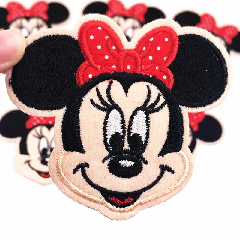 Top jual 1 Pcs Minnie Mickey Bordir Patch Besi di Patch Applique Pakaian Pakaian Tas DIY perbaikan Stiker Lencana Patch