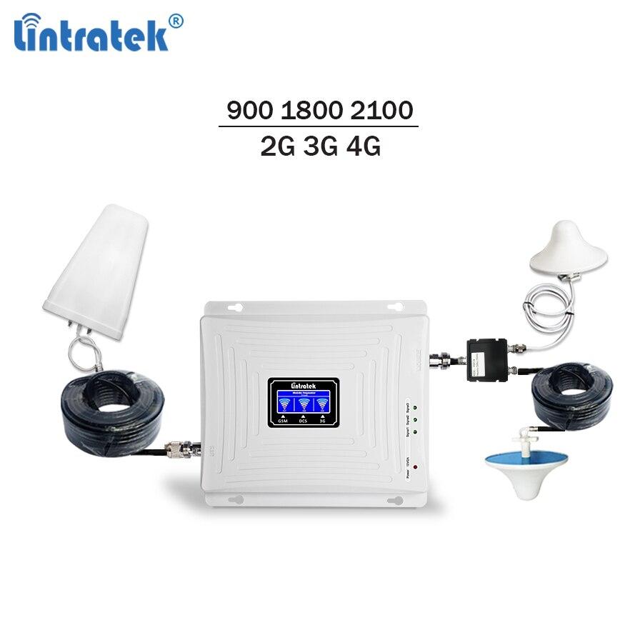 Lintratek amplificateur de signal mobile 900 1800 2100 répéteur gsm 3g 4g amplificateur de signal lte umts tri bande téléphone portable amplificateur kit complet 58