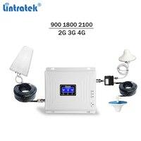 Lintratek мобильный усилитель сигнала 900 1800 2100 gsm репитер 3 г 4G усилитель сигнала LTE UMTS трехдиапазонный телефон усилитель полный комплект 72
