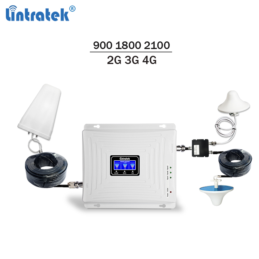 Lintratek Mobile Signal Booster 900 1800 2100 Gsm Repeater 3g 4g Signal Booster Lte Umts Triband Cellphone Amplifier Full Kit 58