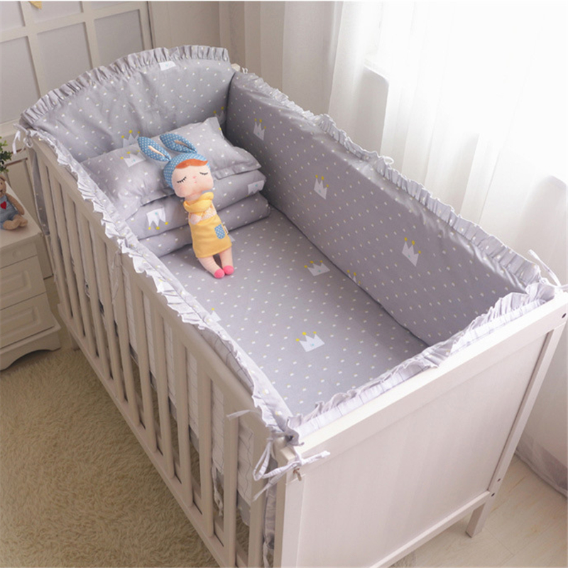 Cotton Baby Crib Bumpers Bedding Cartoon Baby Bedding Sets Bed Safety Baby Fence Bed Sheets for Newborn Baby Bassinet Bumper