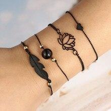 Bohemia Rope Chain Leaf Knot Hand Cuff Chain Charm Bracelet Couple Bracelet Black Love Heart Openwork Lotus Ball Leaves Bracelet infinite knot cuff bracelet