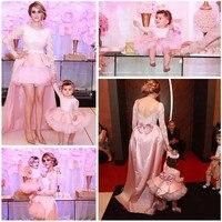 Süße Weiß/Rosa Blumenmädchenkleider für Hochzeit Baby Mädchen Geburtstag Partei Pageant Kleid Jeder Größe