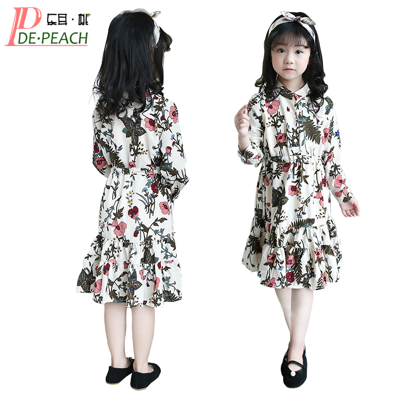 Girls Floral Gown Dress New Summer Spring vestidos Casual cotton Teen Girl wedding Dresses Long Sleeve Kids party princess Dress spring autumn girl style dress princess girls dresses high quality cotton kids party costumes solid thicker vestidos zipper bow