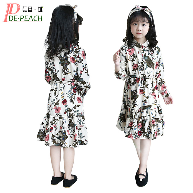 Girls Floral Gown Dress New Summer Spring Vestidos Casual Cotton Teen Girl Wedding Dresses Long Sleeve