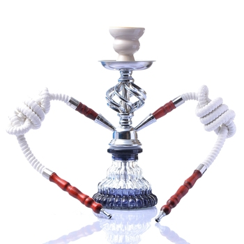 Glass Hookah Set Portable Shisha Pipe with Double Hoses Ceramic Tobacco Flavors Bowl Charcoal Tongs Chicha Narguile Accessories