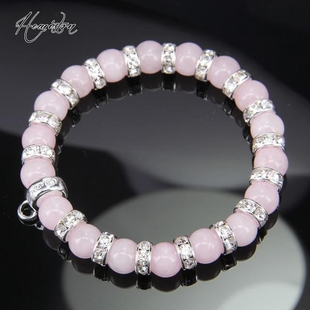 Розовый браслет из бисера в стиле Томаса с фирменной подвеской