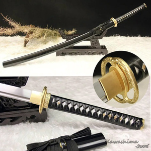 1060 High Carbon Steel Sword Handmade Japanese Samurai Katana Full Tang Leather Ito Brass Tsuba Real Sharpness|sharpness| |  -
