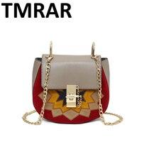Nuovo ricamo delle donne di cuoio flap borse sole fiore immagine ricamo brand design chic della signora ha bisogno di spalla del sacchetto di spalla M1988