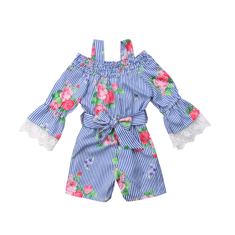 Kids Baby Girl Off-Shoulder Flower Stripe Lace Romper Jumpsuit One-Pieces Outfits Stripe Floral Kid Girls Rompers Blue 0-6T