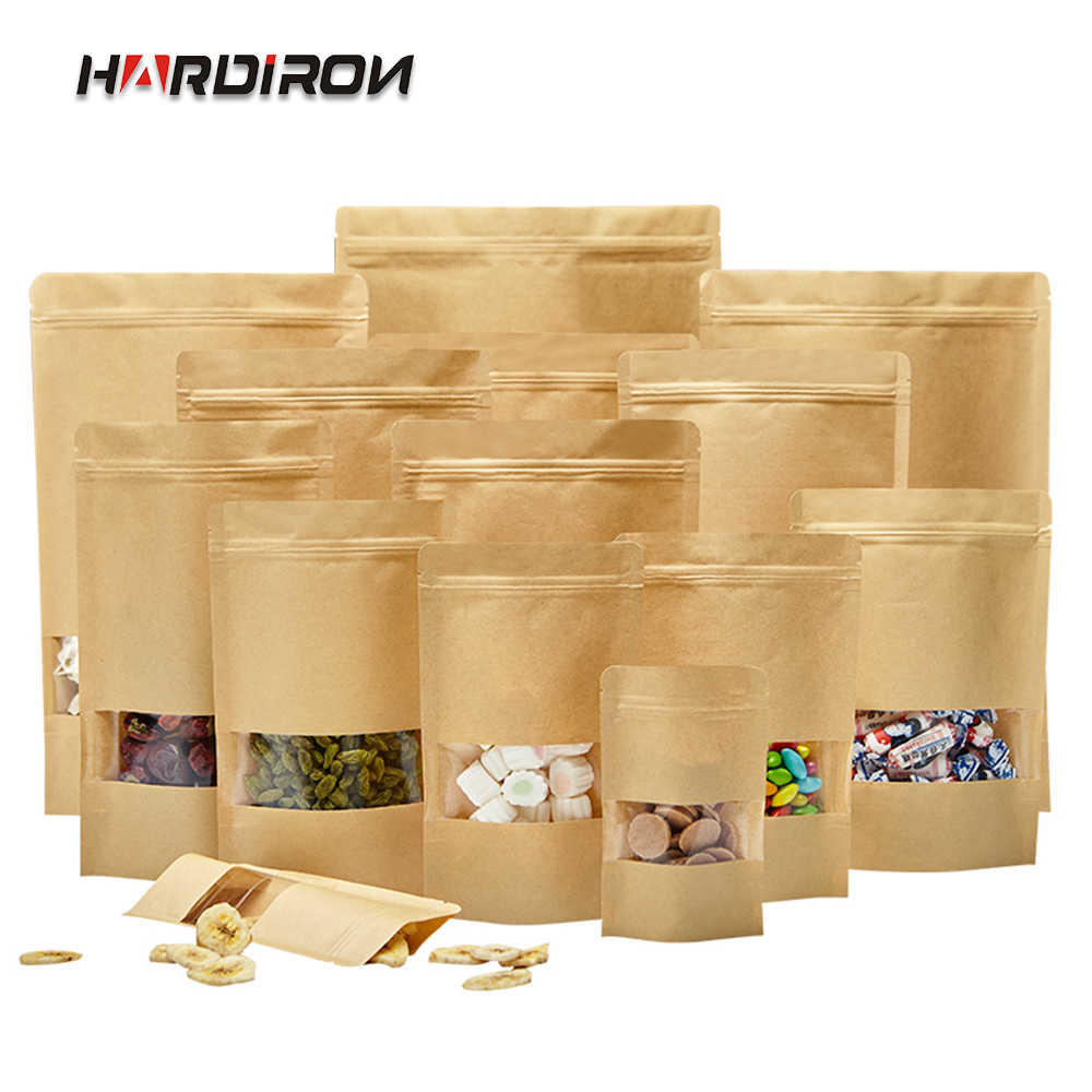 100PCS Brown Standing Kraft Paper Zipper Lock Bag Food Grade Front Transparent Window Moisture-proof Packaging Storage Bag
