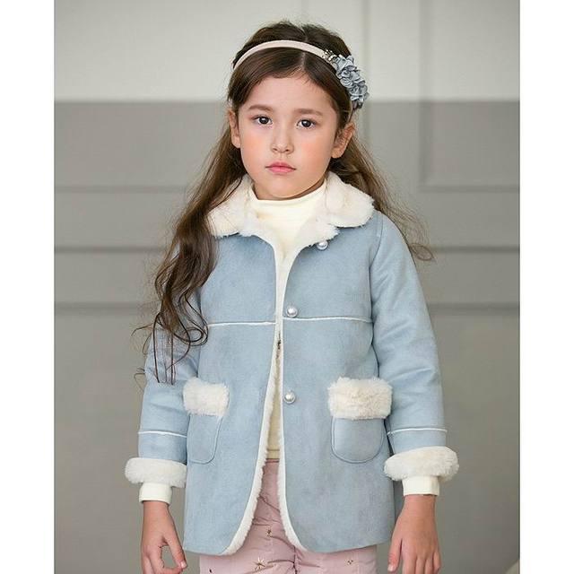 Amberberry 2016 Invierno New Girl Moda de Manga Larga prendas de Vestir Exteriores de Los Niños Ropa de Abrigo de Lana Gruesa 16051