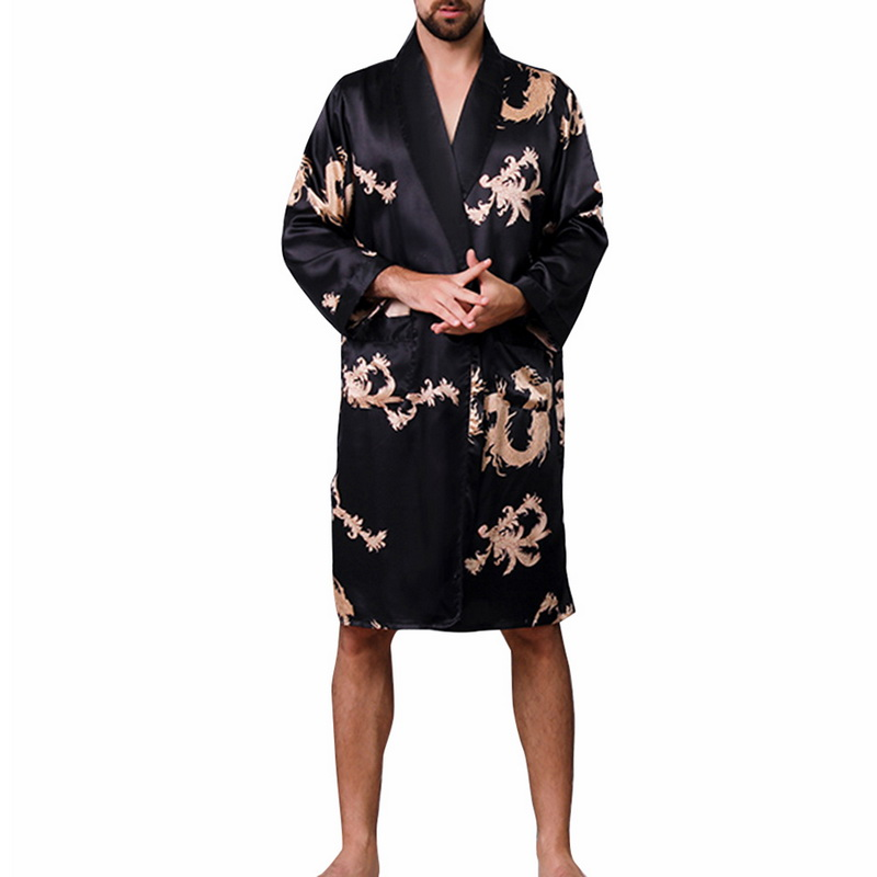 Laamei Men Robe Sleepwear Silk V-Neck Sexy Section Hombre Men's Ropa Long-Sleeved title=