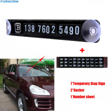 black magnetic temporary car parking card phone number card plate sucker car sticker with a number sheet