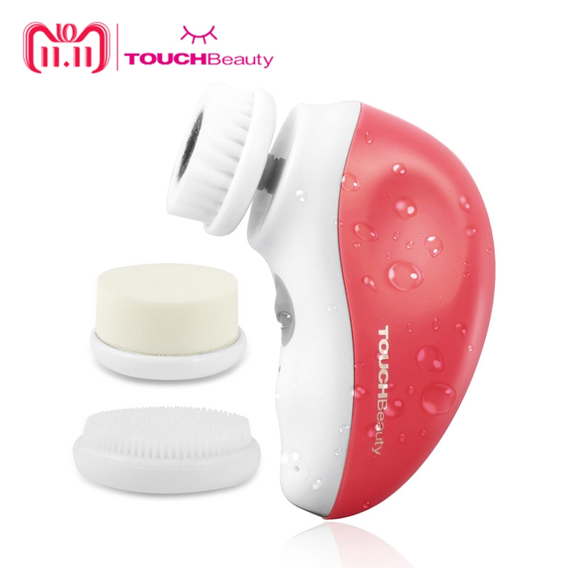 TOUCHBeauty 3 in 1 rotary Electric facial cleansing brush, USB rechargeable face cleansing brush travel kit for Women TB-1387R touchbeauty smart rechargeable dual head optical facial cleansing brush with inbuilt sensor and timer tb 1582