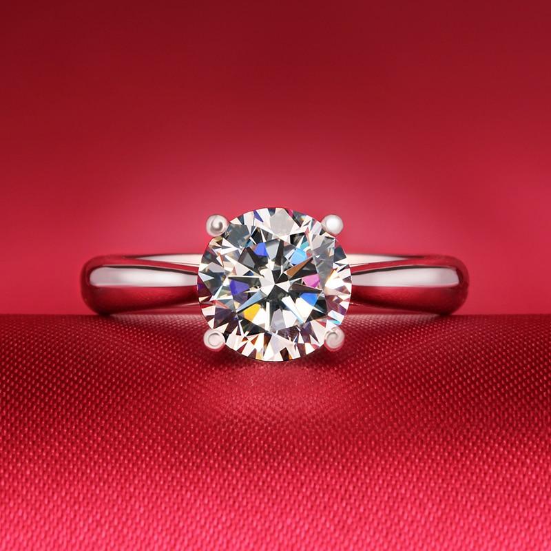 Argent Sterling 925 taille ronde 1CT Moissanite Lab cultivé diamant fiançailles et bague de mariage bijoux trouver pour les femmes