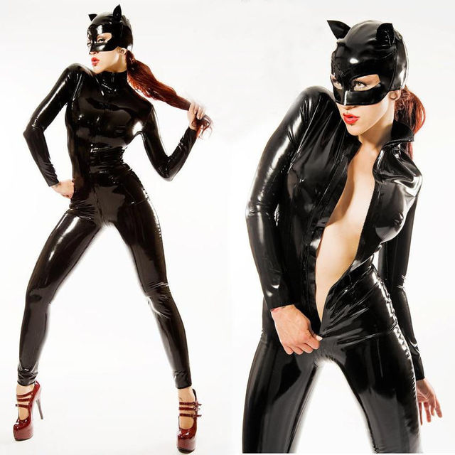 Mujeres negro ropa Sexy entrepierna cuero Bodysuit látex mono PVC Catwoman PU cremallera negro elástico Catsuit xdWCEreQoB