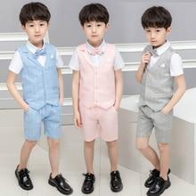 4 pcs Toddler Boys Suit Summer Wedding Cotton/Linen Blend Kids Vest Short Set Fo